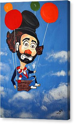Canvas Print featuring the painting Clown Up Up And Away by Nora Shepley