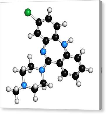 Clozapine Antipsychotic Drug Molecule Canvas Print by Molekuul