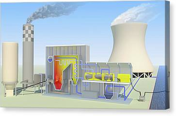 Coal-fired Power Station Canvas Print by Science Photo Library
