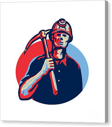 Coal Miner Pick Axe Retro Canvas Print by Aloysius Patrimonio