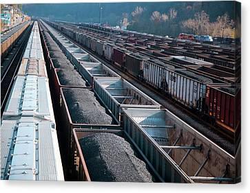 Coal Trains In Railway Yard Canvas Print by Jim West