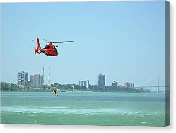 Search And Rescue Canvas Print - Coast Guard Water Rescue Demonstration by Jim West