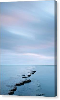 Coastal Rock Ledge At High Tide Canvas Print
