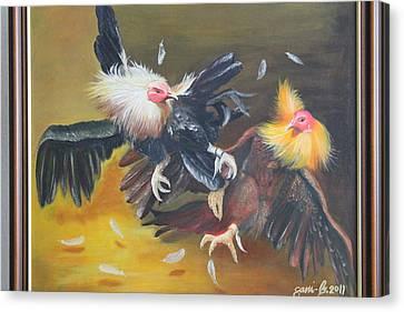 Cockfight  Canvas Print by Gani Banacia