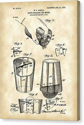 Cocktail Mixer And Strainer Patent 1902 - Vintage Canvas Print by Stephen Younts