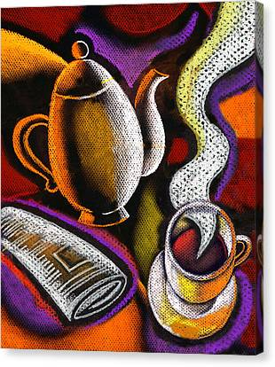 Satisfaction Canvas Print - Coffee And News by Leon Zernitsky