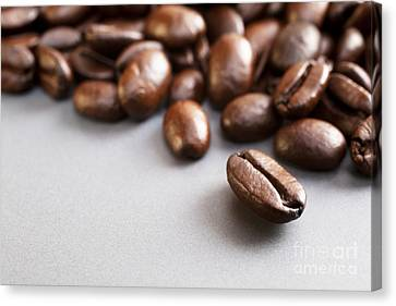 Ceramic Canvas Print - Coffee Beans On Grey Ceramic Surface by Colin and Linda McKie