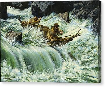 Overcurrent - Frontiersmen In Canoe In Wild Rapids Canvas Print by Don  Langeneckert