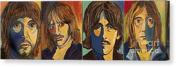Canvas Print featuring the painting Colorful Beatles by Jeanne Forsythe