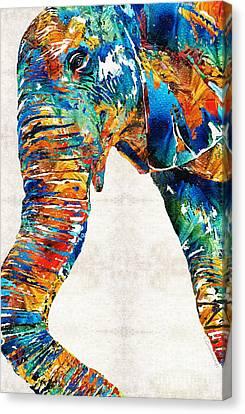 Elephant Canvas Print - Colorful Elephant Art By Sharon Cummings by Sharon Cummings