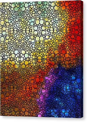 Colorful Stone Rock'd Abstract Art By Sharon Cummings Canvas Print by Sharon Cummings