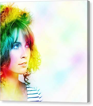 Colorful Woman Watching Colourful Rays Of Light Canvas Print
