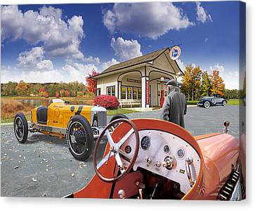 Canvas Print featuring the digital art Colors Of Autumn Vintage Standard Oil Station by Ed Dooley