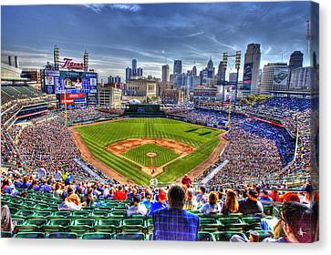 Comerica Park Detroit Skyline Canvas Print by A And N Art