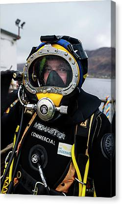 Commercial Diver In Diving Suit Canvas Print by Louise Murray