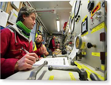 Commercial Diving Control Room Canvas Print by Louise Murray