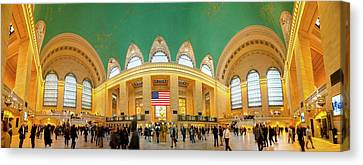 Commuters At A Railroad Station, Grand Canvas Print by Panoramic Images