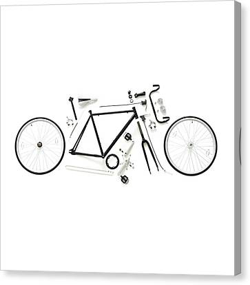 Components Of A Road Bike Canvas Print by Science Photo Library