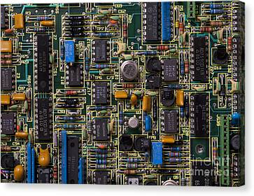 Computer Circuit Board Canvas Print by Jim Corwin