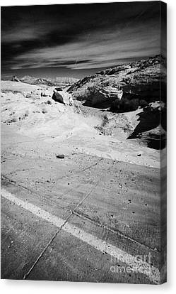 Concrete Reinforcement Of Flood Water Run Off From Road Through The Valley Of Fire State Park Nevada Canvas Print