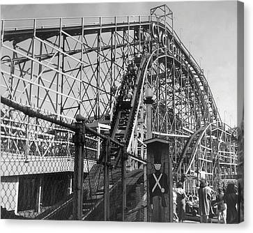 Coney Island - Cyclone Roller Coaster Canvas Print by MMG Archives