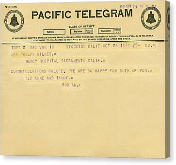 Congratulatory Telegram Canvas Print by Underwood Archives