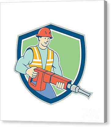 Construction Worker Jackhammer Shield Cartoon Canvas Print by Aloysius Patrimonio