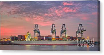 Container Cargo Freight Ship With Working Crane Loading Bridge I Canvas Print by Anek Suwannaphoom
