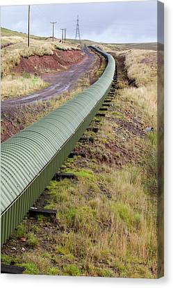 Conveyor With Coal From Opencast Mine Canvas Print by Ashley Cooper
