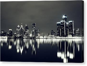 Cool Detroit Night Skyline Canvas Print by Alanna Pfeffer