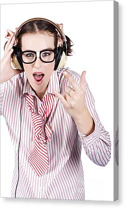 Enjoyment Canvas Print - Cool Music Nerd Rocking Out To Metal On Headphones by Jorgo Photography - Wall Art Gallery
