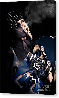 Cool Smoking Woman With Skateboard Canvas Print by Jorgo Photography - Wall Art Gallery
