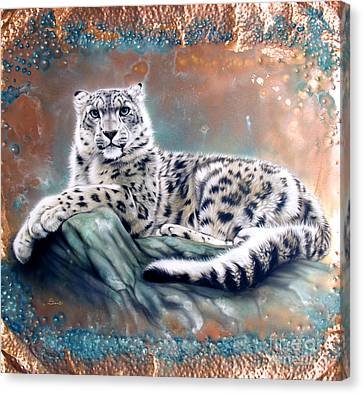 Snow Leopards Canvas Print - Copper Snow Leopard by Sandi Baker