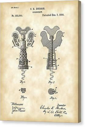Corkscrew Patent 1886 - Vintage Canvas Print