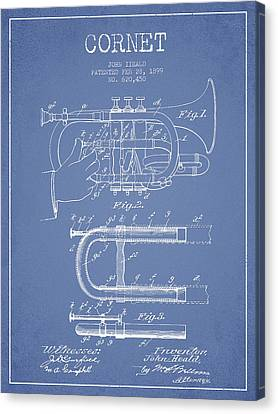 Cornet Patent Drawing From 1899 - Light Blue Canvas Print by Aged Pixel
