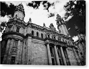 Correos Y Telegrafos Phone And Telegraph Central Post Office Building Barcelona Catalonia Spain Canvas Print by Joe Fox