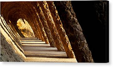 Corridor In A Park, Park Guell Canvas Print by Panoramic Images