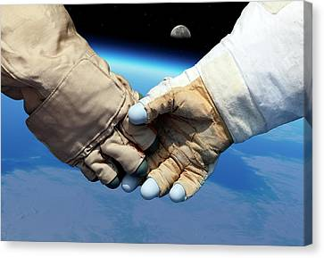 Cosmonaut And Astronaut Shaking Hands Canvas Print by Detlev Van Ravenswaay