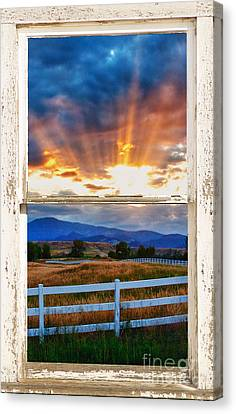 Country Beams Of Light Barn Picture Window Portrait View  Canvas Print