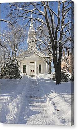 Country Church In Winter Wiscasset Maine Canvas Print
