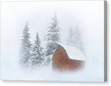 Red Barn In Snow Canvas Print - Country Winter-2 by Angie Vogel