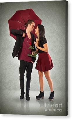 Couple And Umbrella Canvas Print