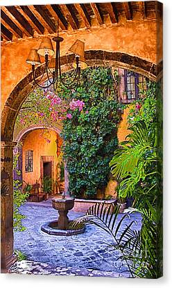 Courtyard Canvas Print by Nicola Fiscarelli