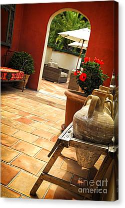 Courtyard Of A Villa Canvas Print