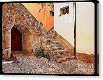Courtyard Of Old House In The Ancient Village Of Cefalu Canvas Print by Stefano Senise