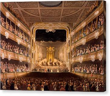 Microcosm Canvas Print - Covent Garden Theater by Pugin and Rowlandson