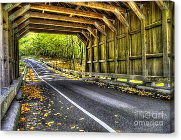 Scenic Drive Canvas Print - Covered Bridge On Pierce Stocking Scenic Drive by Twenty Two North Photography