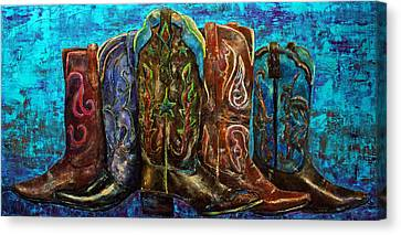 Contemporary Cowgirl Canvas Print - Cowgirl Boots by Jennifer Godshalk