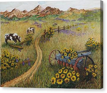 Cows Grazing Canvas Print by Katherine Young-Beck