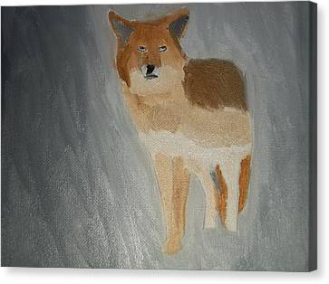 Coyote Oil Painting Canvas Print by William Sahir House